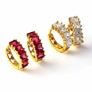 Jewelry - Lady's or Girls 18K Gold Filled Red CZ  Huggy Hoop